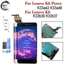 LCD עבור Lenovo K6 כוח K33a42 K33a48 תצוגה עם מסגרת מסך מגע חיישן Digitizer עצרת עבור Lenovo K6 k33b36 k33b37 LCD