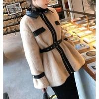 2019 Imitation Mink Hair Patchwork Women Coat Waist Belt Khaki And Beige Color Female Jacket