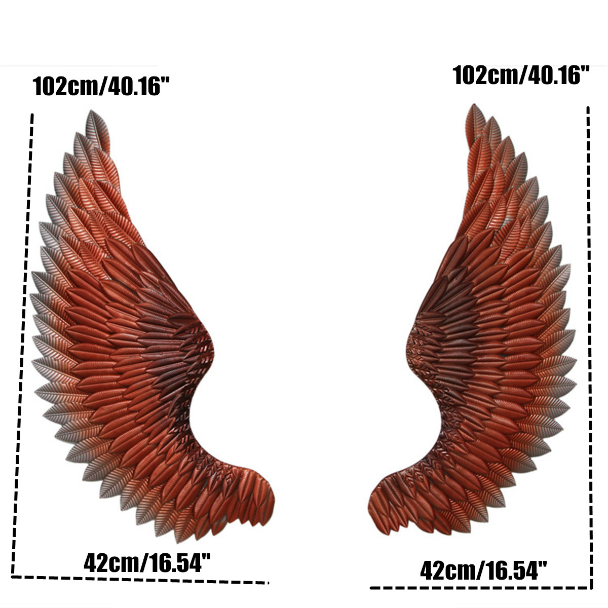 New 1pair Large Vintage Iron Wall Decoration Angel Wings with 6m LED Light Strip Creative~Retro Wings Bar Cafe Wall Decor iron H