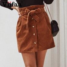Skirts Womens Pencil Office-Wear Autumn Winter High-Waist Corduroy Viifaa with Belt Slim