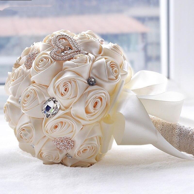 8 couleurs magnifiques fleurs de mariage Bouquets de mariée Bouquet de mariage artificiel cristal étincelle avec perles 2020 buque de noiva