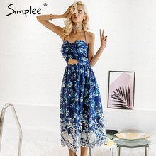 Simplee Vintage print beach summer dress women Bow halter backless sexy dress Chiffon lace up long party dress vestidos sundress(China)