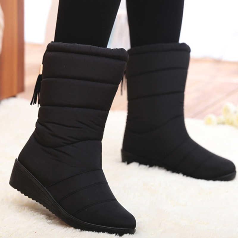 Phụ Nữ Mới Giày Nữ Mùa Đông Giày Chống Nước Xuống Bé Gái Cổ Chân Ủng Nữ Người Phụ Nữ Lông Ấm Áp Botas Mujer
