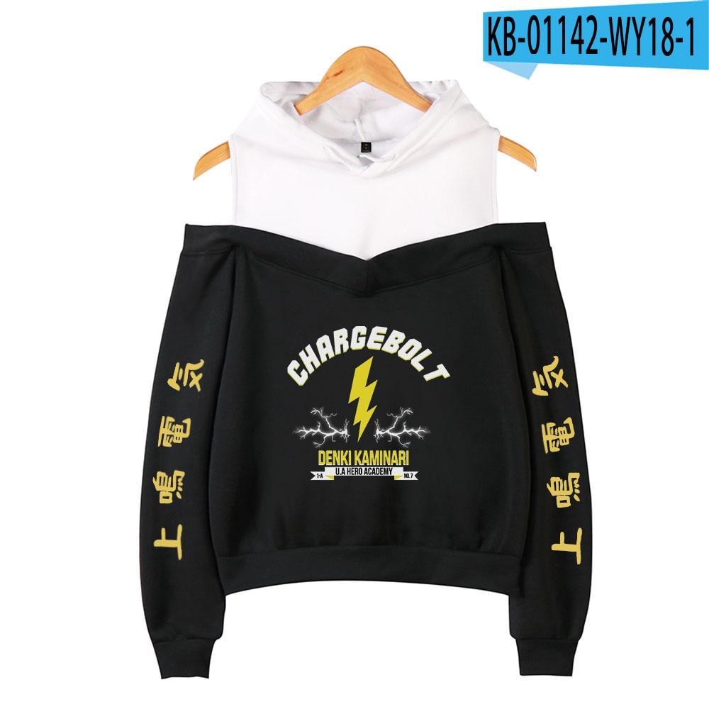 My Hero Academia Hoodies Female Off Shoulder Sweatshirt Women's Pullover Harajuku Streetwear Denki Kaminari 2021 Anime Clothes 7