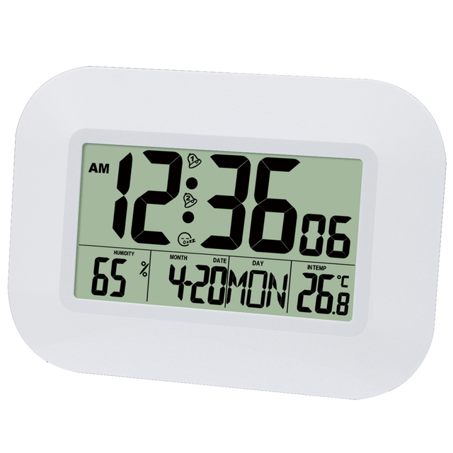 Большой ЖК дисплей цифровые настенные часы с термометром температурный Радиоуправляемый будильник RCC Настольный календарь для дома школы офиса