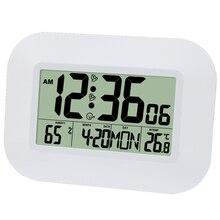 Große LCD Digital Wanduhr Thermometer Temperatur Radio Gesteuert Wecker RCC Tisch Schreibtisch Kalender für Hause Schule Büro