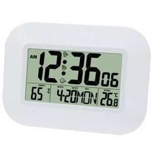 Image 1 - Grote Lcd Digitale Wandklok Thermometer Temperatuur Radio Controlled Wekker Rcc Tafel Bureau Kalender Voor Home School Office