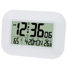 ビッグ液晶デジタル壁時計温度計温度電波アラーム時計rccテーブル卓上カレンダーofficeの