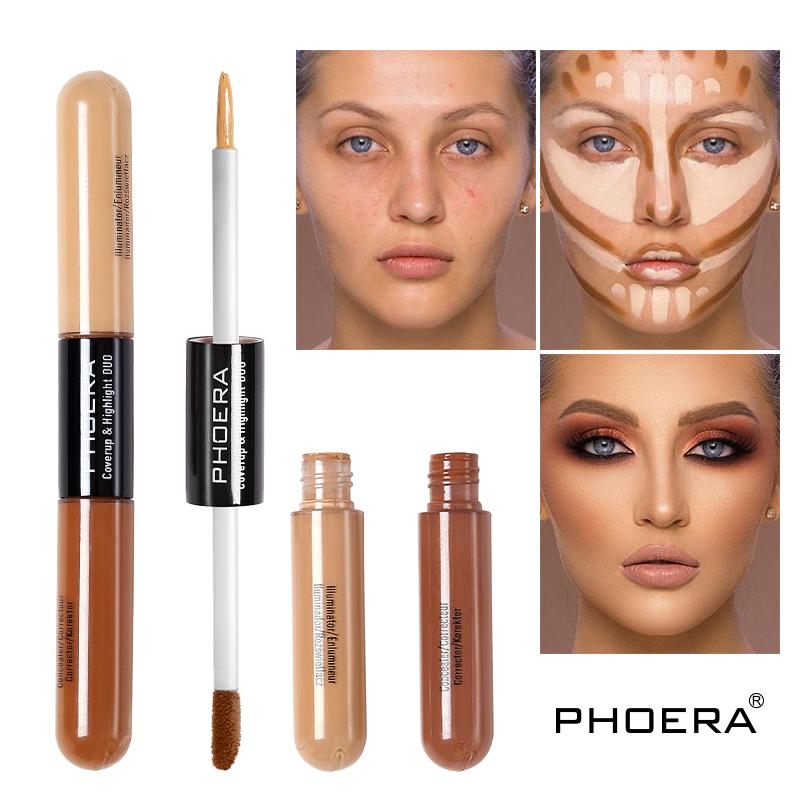 PHOERA Double Head 2 Colour Liquid Concealer cream Foundation Long Lasting Brighten Face Contour repair Bronzer Makeup TSLM1