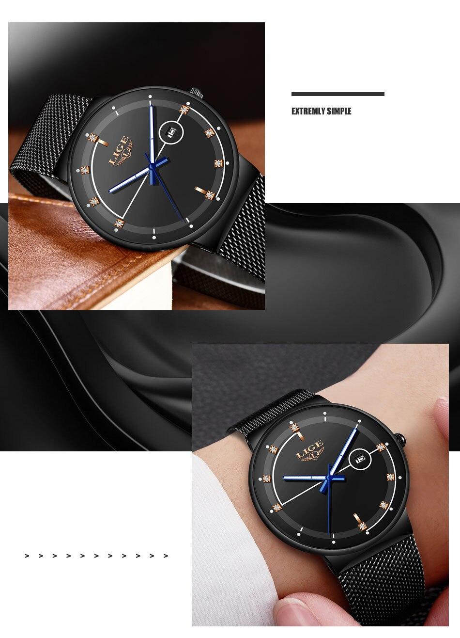 marca luxo ultra fino relógio de quartzo