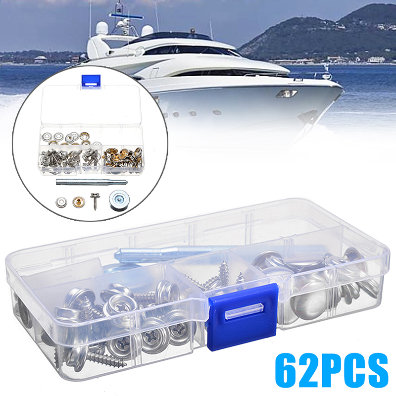 New Arrival 1Set 62pcs Metal Steel Boat Cover Canvas Snap Fastener Repair Kit SL Marine Hardware Accessories