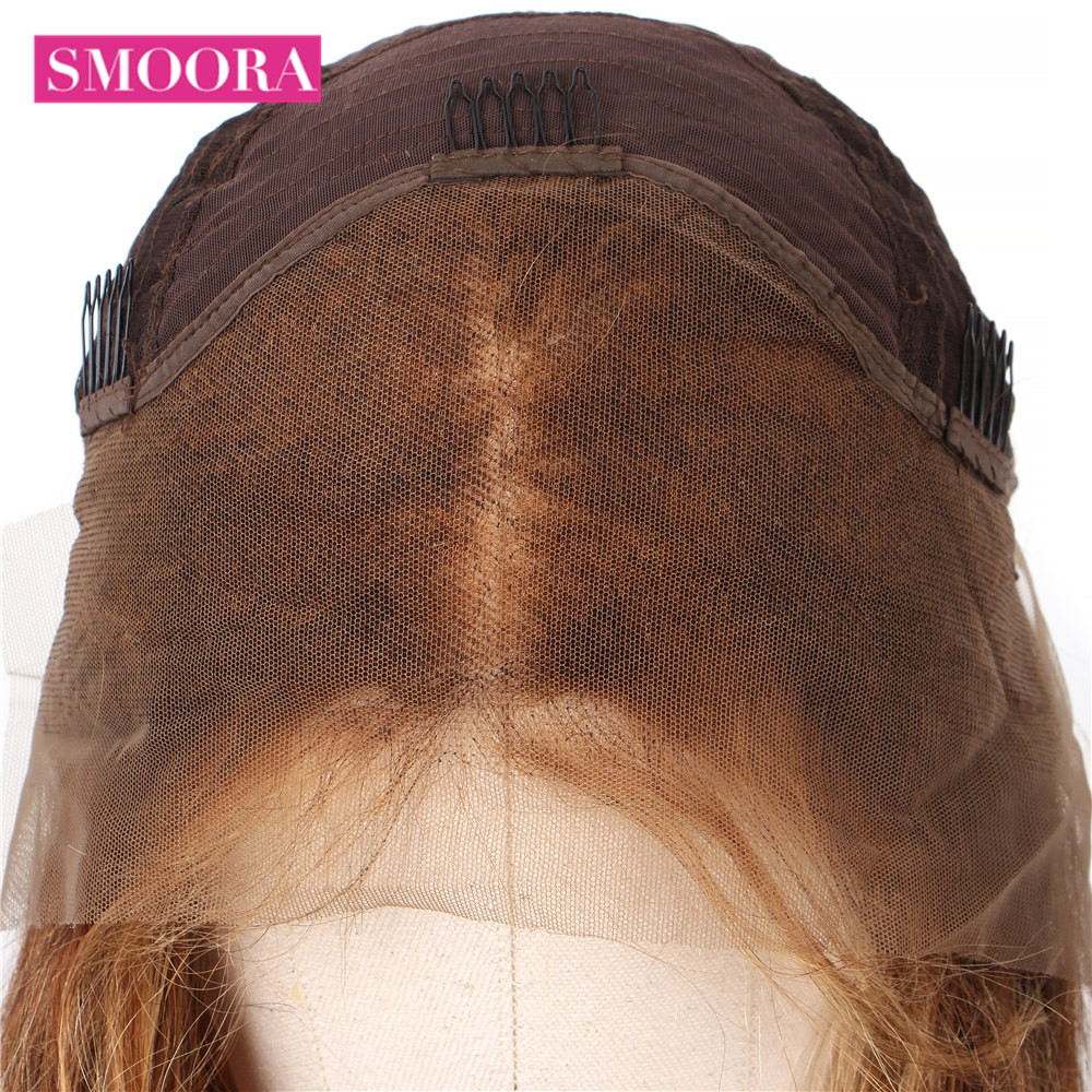 Ombre Lace Front Wigs #4/27 Mix Honey Blonde Brown Body Wave 13x4 Lace Front  Wigs Mongolian Non  Hair 150% Densit 3