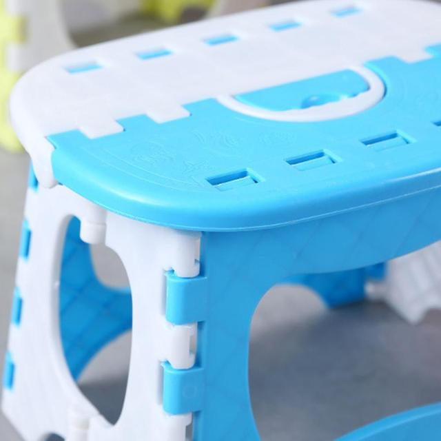 Folding Step Stool Foldable Plastic Portable Small Chair Bench For Children Kids Outdoor Bathroom Travel Camping With Handle 1