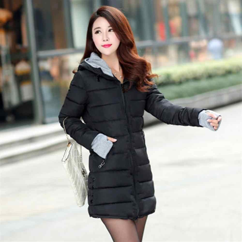 2019 kobiety jesień zima ciepła kurtka z kapturem Plus rozmiar cukierki kolor ocieplana kurtka z bawełny kobiet długa parka kobiet styl slim