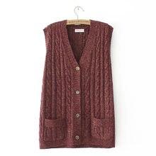 Suéter informal sin mangas para mujer, Chaqueta de punto sin mangas para otoño e invierno, Jersey holgado con cuello de pico y dos bolsillos, Tops de talla grande