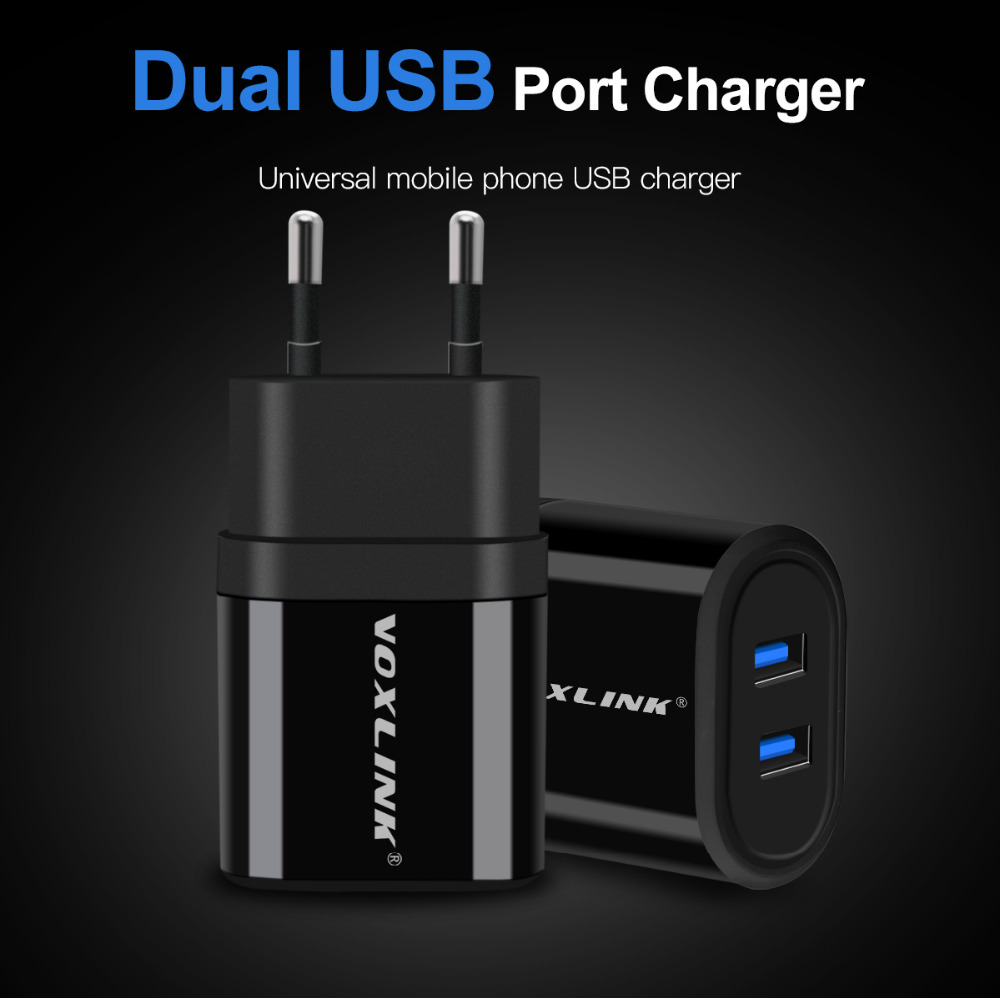 VOXLINK USB Charger 2 Ports 5V 2 1A USB Wall Travel Charger Portable Mobile Phone Charging Adapter with 1M USB cable For Samsung in Mobile Phone Chargers from Cellphones Telecommunications