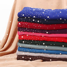 Women Fashion Sequins Pearls Chiffon Scarf 2019 New Ladies Soft Scarves Large Hijabs Shawls Solid Color Muslim Headscarf(China)
