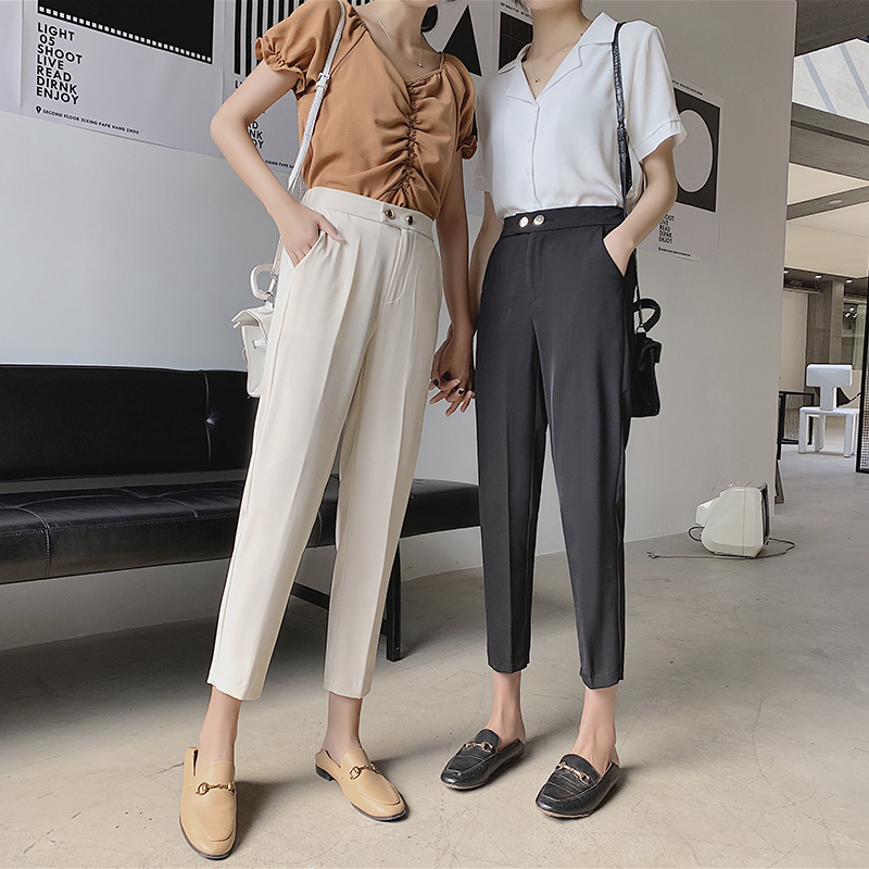 2020 Autumn New Women Elastic Pants Female Plus Size S-3XL Casual Long Trousers Harem Pants Winter Wool Ankle-Length Pants