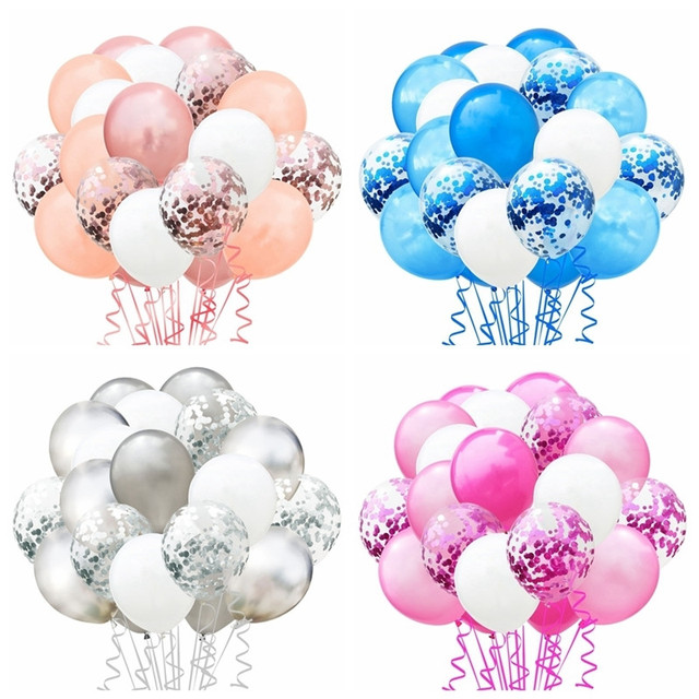 1 Set Metallic Confetti Air Balloons With Ribbon Birthday Party Helium Balloon Decorations Wedding Festival Balon Party Supplies