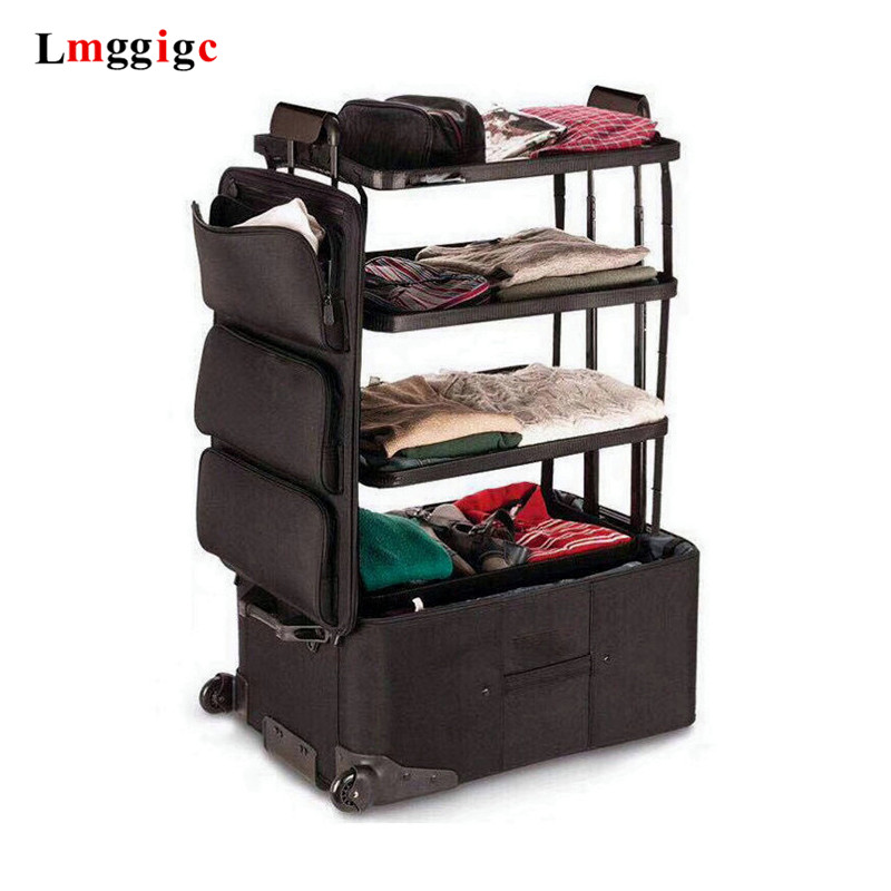 Super Large Capacity Rolling Luggage,Travel Baggage,3 Layes Boarding Trolley Case,Oxford Cloth Checked Suitcase,Trendy Trunk