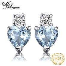 Jewelrypalace сердце любовь 1ct Натуральный аквамарин белый топаз Post Серьги-гвоздики для Для женщин 925 стерлингового серебра ювелирный бренд