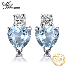 JewelryPalace сердце любовь 1 карат натуральный Аквамарин Белый Топаз пост Стад серьги для женщин 925 стерлингового серебра ювелирный бренд 2017