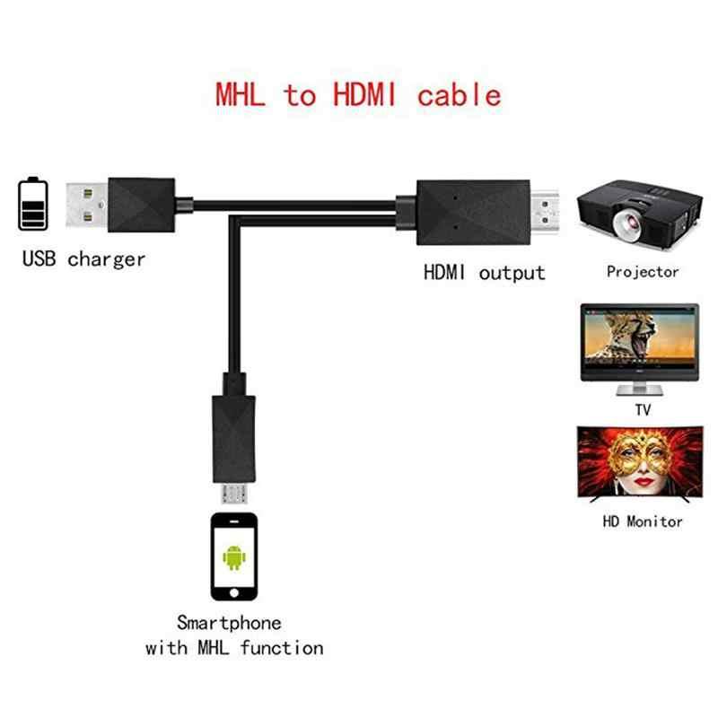 1.8M Micro USB MHL untuk HDMI Kabel 5 PIN & 11 Pin 1080P HD TV Kabel Adaptor untuk samsung Huawei Xiaomi HTC Android Ponsel