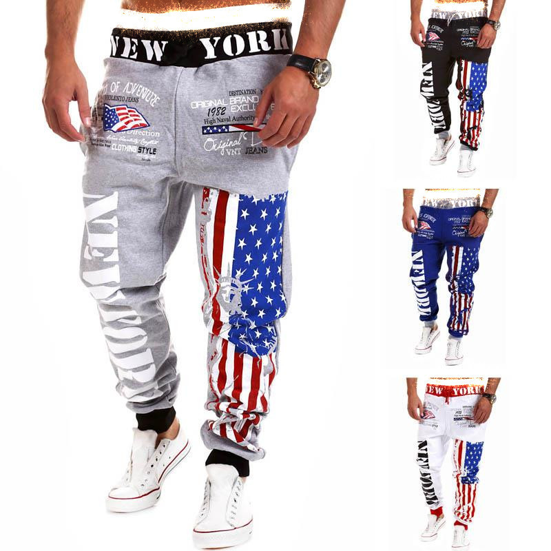 OLOME Streetwear Sweatpants Mens Joggers Pants Fashion USA Flag And Letter Printed Pants Men Comfortable Loose Cotton Sweatpants