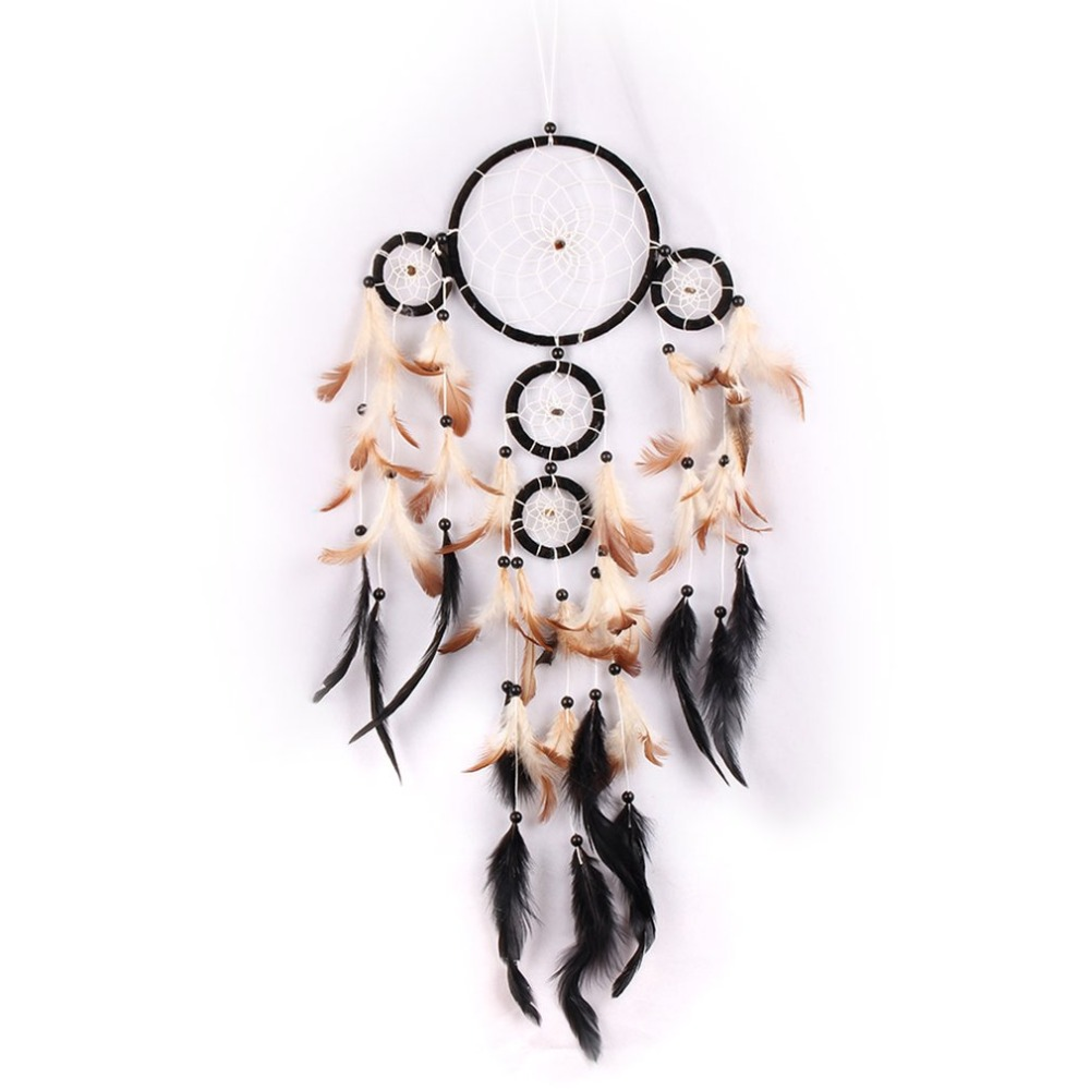 Dual-hearts Dream Catcher Handmade Knitted Cotton Dreamcatcher With Feathers Dream Catcher Net Room Car Decoration