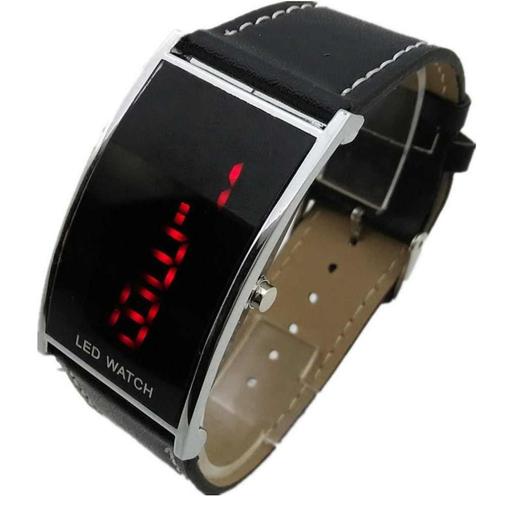 Reloj espejo LED tipo puente de cuero minimalista normal impermeable LED hombres smart electronics relojes Casuales