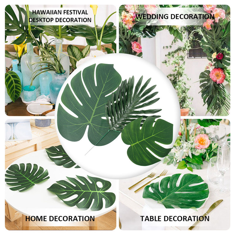 36pcs 3 Kinds Artificial Tropical Palm Leaves Simulation Leaf Hawaiian Luau Party Jungle Beach Theme Table Decorations Bohemia