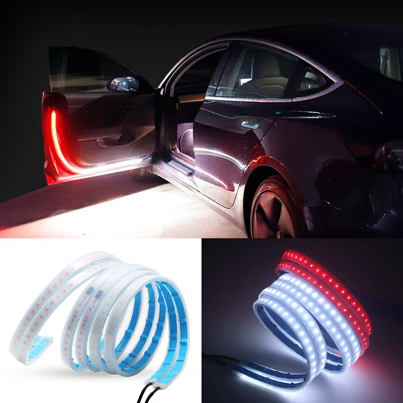 120cm White Red Car Warning Light LED Flexible Strip DIY Door Flow Sequential LED Safety Welcome Rear light