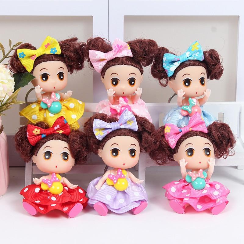 9cm Handmade Mini Colorful Princess Dolls Little Girl Doll Full Dress Doll Keychains Handbag Decoration Pendants Birthday Gifts