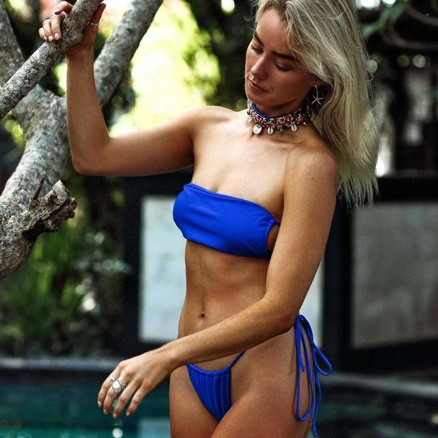 Brazilian Style Pleated String Bikini Swimsuit 2