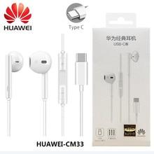 Huawei original cm33 fone de ouvido usb tipo c no ouvido fone de ouvido com microfone huawei companheiro 10 pro p10 p20 p30 pro nota 10 honra 9 10