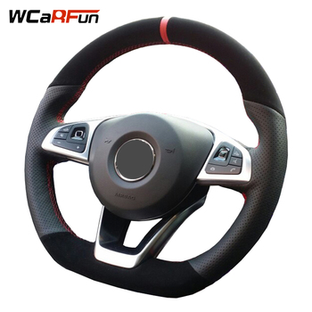 Black Genuine Leather Black Suede Car Steering-Wheel Cover for Mercedes-Benz C200 C250 C300 Sport CLA220 B250 B260 A200 A250