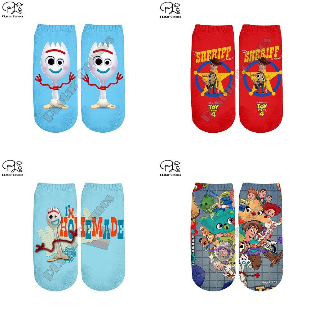 PLstar Cosmos Harajuku Cartoon Toy Story 3d Woody Forky Bopeep Print Men Women Funny Socks Fashion Summer Spring Ankle Socks