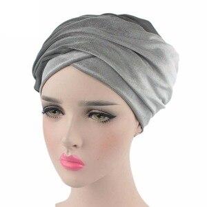 Image 3 - Helisopus kobiety moda styl aksamitna Turban muzułmanin długi tren Cap jednolity kolor owinięty szalik na głowę kapelusz panie Headwrap szalik