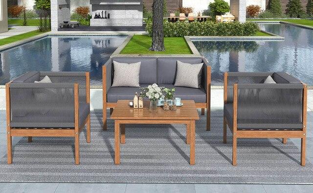 4PCS Wooden Outdoor Tea Room Chair Set  2