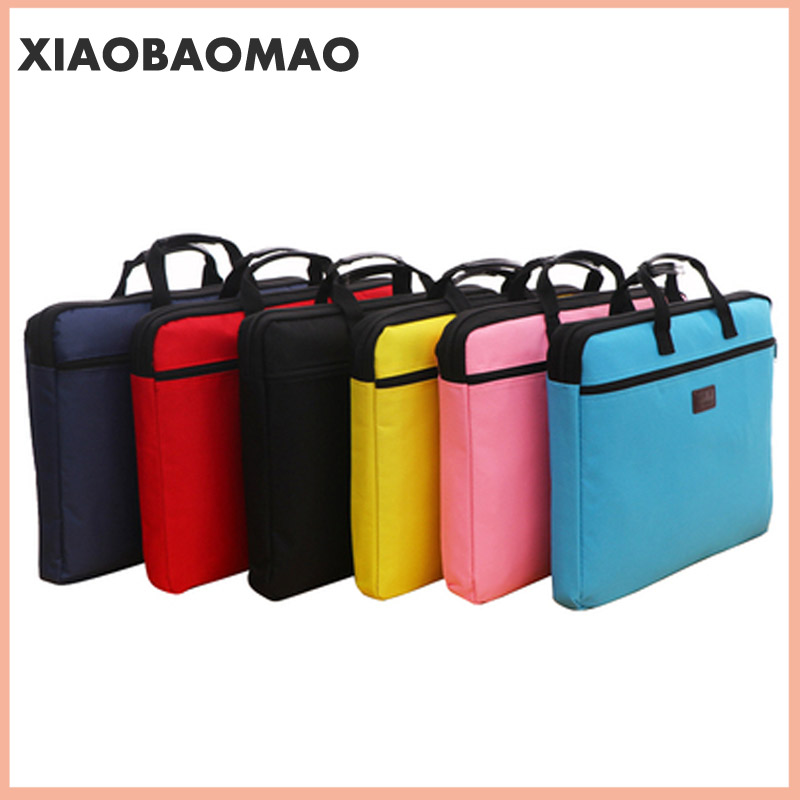 6 colors A4 Document Bag Big Capacity Double Layers Book File Folder Holder with Handle Zipper Waterproof Canvas Handbag for Bus 2