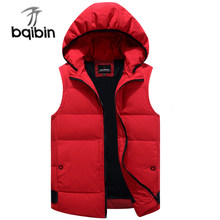 Autumn Winter Duck Down Baggy Vest For Men Warm New Casual Hooded Sleeveless Zipper Solid Parka Jacket Male Classic 2019 Brand(China)