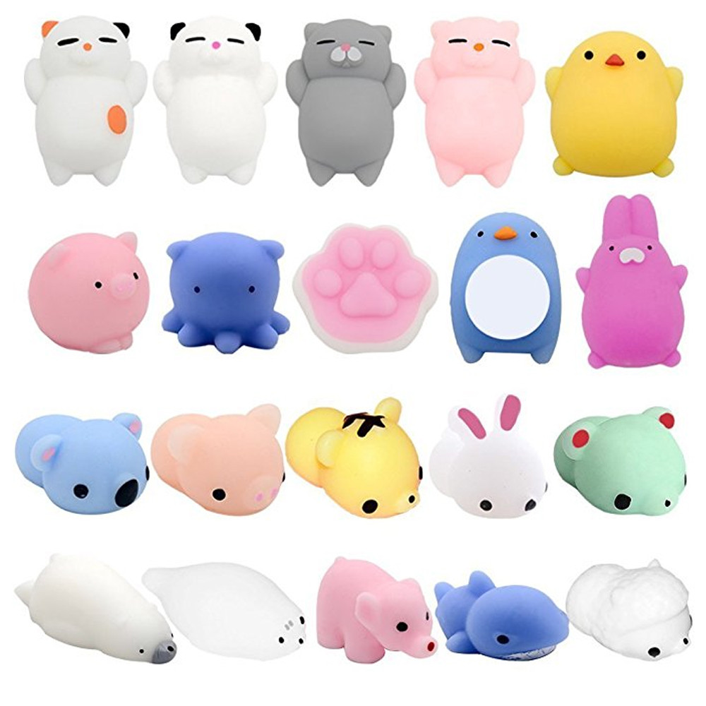20PC Mini  Dropshipping Cute Mochi Squishy Cat Squeeze Healing Fun Toy Kids Kawaii Kids Adult Toy Stress Reliever Decor L0116