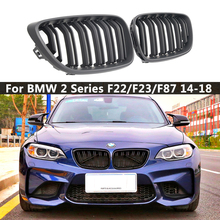 цена на Pair M Color/Gloss Black/Matte Black Car Front Bumper Kidney Grill Grilles for BMW 2 Series F22 F23 F87 M2 Car Styling Accessory