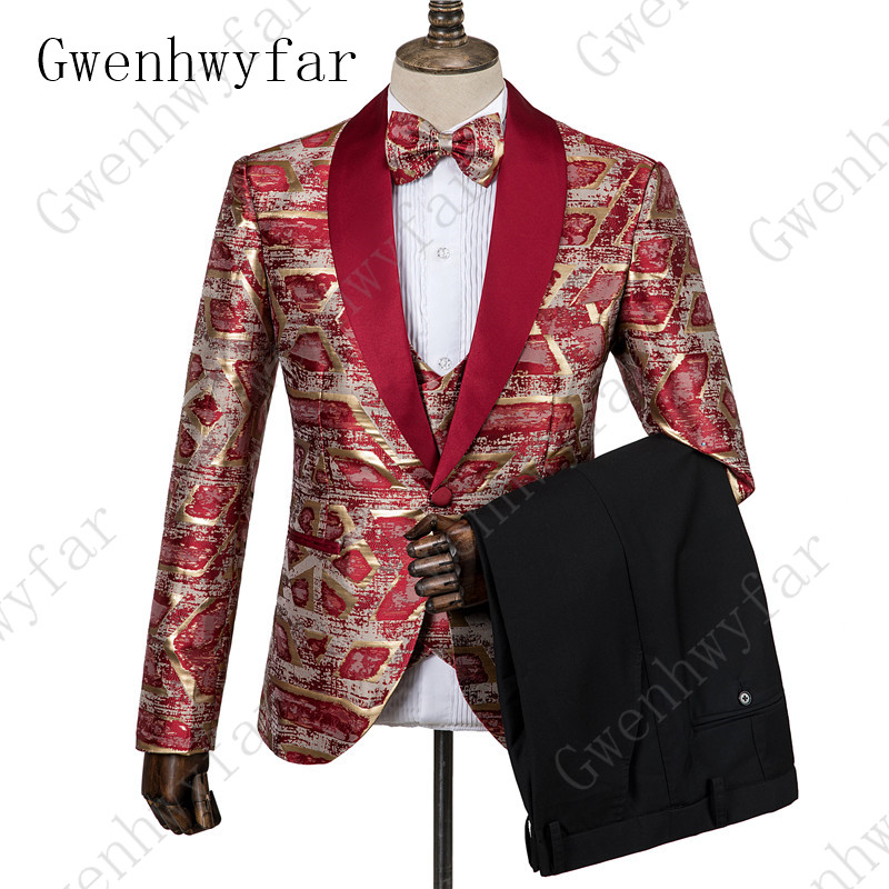 White Floral Mens Suits Wedding Costume Tuxedo Slim Fit Prom Party Club Fashion