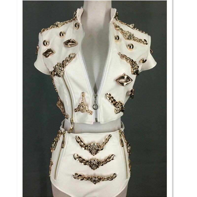 Dj Costume Ds Lion Head Leather Clothing Twinset Stage Costumes For Singers Roupa Feminina Dance Costume DJ Rhinestone 2020