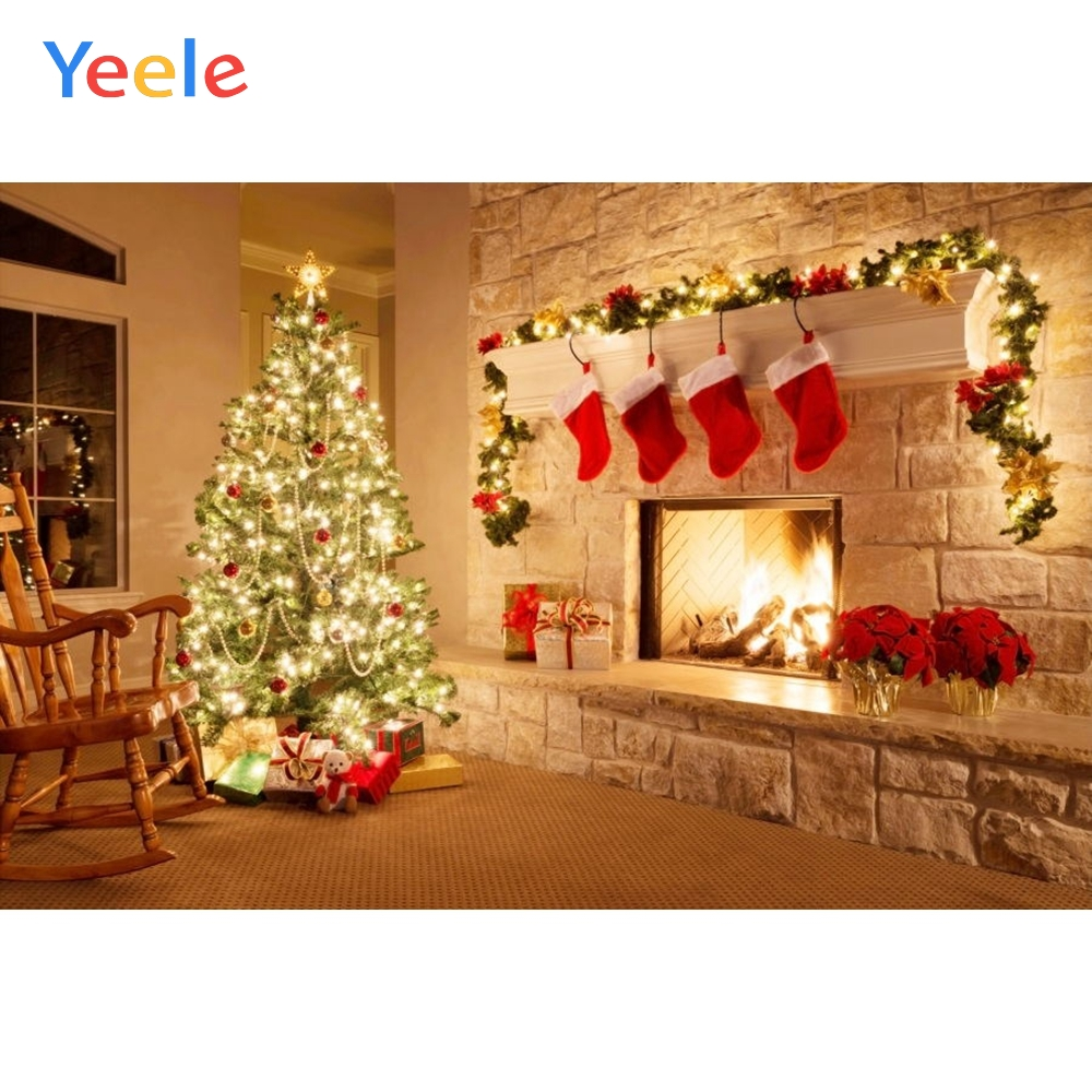 Yeele Merry Christmas Photography Backgrounds Tree Gift Fire Fireplace Custom Vinyl Photographic Backdrop For Photo Studio