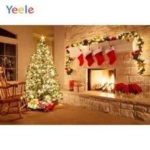 Yeele Merry Christmas Photography Backgrounds Tree Gift Fire Fireplace Custom Vinyl Photographic Backdrop For Photo Studio недорого