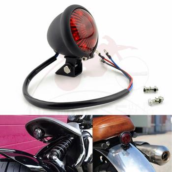 Nowość motocykl czerwony 12V LED regulowany cafe racer styl światłu stopu hamulec motocyklowy tylna lampa Taillight dla Chopper tanie i dobre opinie NEWNESS światło hamowania CN (pochodzenie) Chopper Bobber Rear Motorcycle Rear taillight motorcycle stop light Brake Indicator Lamp