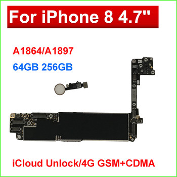 For iPhone 8 Motherboard 64gb 256GB  with Touch ID Home Button Original unlocked for iPhone 8 Logic with IOS System fingerprint