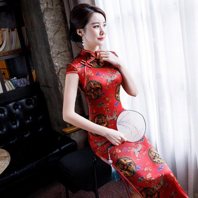 2020 حقيقي قصير يزين Vestido De Debutante جديد شائعة الحرير طويل تشيباو فستان عالية تنفيس الطباعة الرجعية ساحات كبيرة